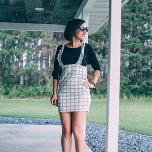 Dresses & Skirts - White Check Frill Pinafore Mini Dress